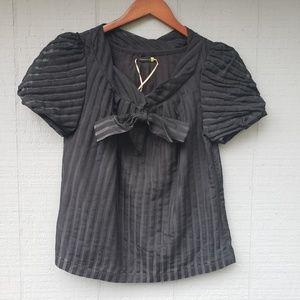 Leifsdotter Anthro Sheer Stripe Lined Blouse Sz 2